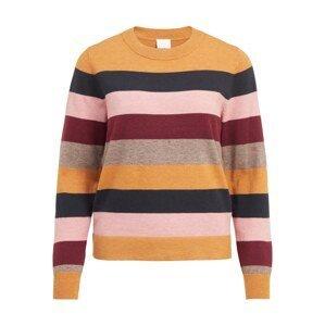VILA Svetr 'Kerry'  oranžová / světle hnědá / tmavě modrá / růžová / burgundská červeň