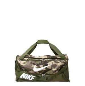NIKE Sportovní taška 'Brasilia'  bílá / khaki / tmavě šedá / světle béžová