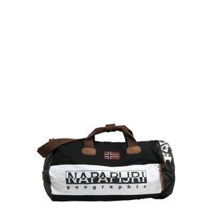 NAPAPIJRI Cestovní taška 'HERING'  černá / bílá / hnědá