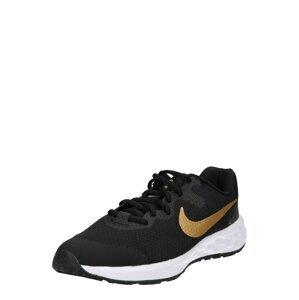 NIKE Sportovní boty 'Revolution'  černá / zlatá / kámen