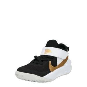 NIKE Sportovní boty 'Team Hustle'  černá / bílá / zlatá