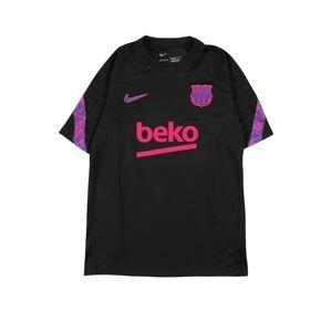NIKE Funkční tričko  černá / svítivě růžová / modrá