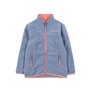 TROLLKIDS Funkční flísová bunda  kouřově modrá / lososová / ohnivá červená / bílá