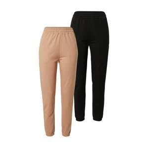 Missguided Kalhoty  černá / světle hnědá