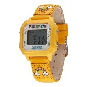 GUESS Digitální hodinky  zlatě žlutá / bílá / mix barev