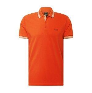 BOSS ATHLEISURE Tričko 'Paddy'  tmavě oranžová / bílá