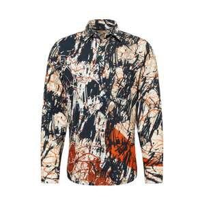 BOSS Casual Košile 'Riou'  noční modrá / velbloudí / tmavě oranžová / bílá