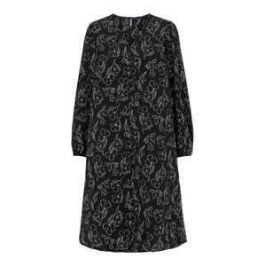 PIECES Šaty  černá / bílá