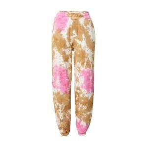 Colourful Rebel Kalhoty  pink / bílá / světle hnědá