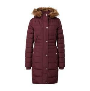 HOLLISTER Zimní kabát  rubínově červená / světle hnědá