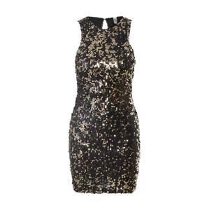 JDY Koktejlové šaty 'Violet'  zlatá / černá / stříbrná