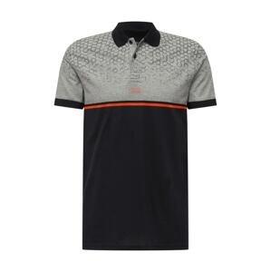 BOSS ATHLEISURE Tričko 'Paddy 7'  černá / šedá / oranžová