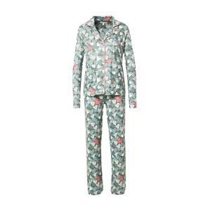 PJ Salvage Pyžamo  tmavě zelená / bílá / starorůžová / kouřově modrá