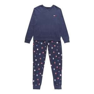 SCHIESSER Pyžamo  tmavě modrá / nebeská modř / červená / růžová / bílá