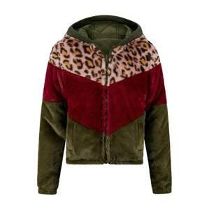Retour Jeans Zimní bunda 'Iza'  tmavě zelená / vínově červená / růžová / zlatě žlutá