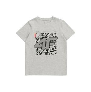 4F Funkční tričko  světle šedá / černá / ohnivá červená / šedá