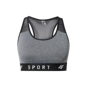 4F Sportovní podprsenka  šedý melír / černá / světle šedá