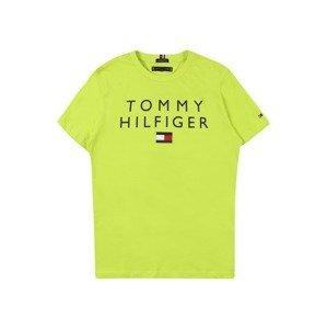 TOMMY HILFIGER Tričko  svítivě zelená / bílá / ohnivá červená / noční modrá