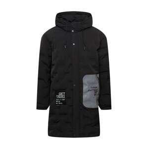 FREAKY NATION Zimní kabát  černá / šedá