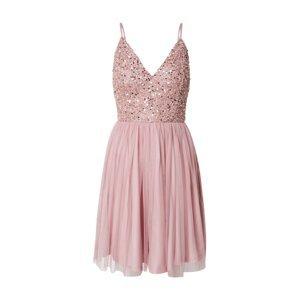 LACE & BEADS Koktejlové šaty 'Allison'  stříbrná / růžová