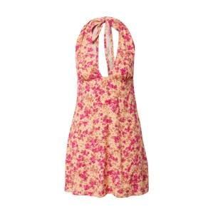 Motel Letní šaty 'Leana'  pink / tmavě růžová / béžová / tmavě béžová