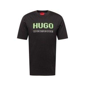 HUGO Tričko 'Damer'  černá / světle zelená / bílá