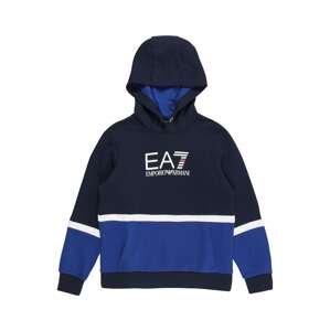 EA7 Emporio Armani Mikina 'FELPA'  modrá / tmavě modrá / bílá