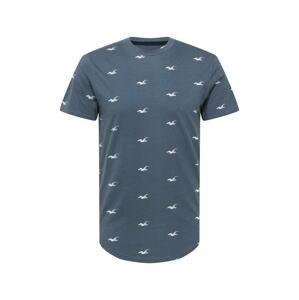 HOLLISTER Tričko  chladná modrá / bílá