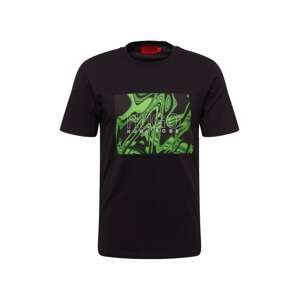 HUGO Tričko 'Dolive'  černá / zelená / bílá