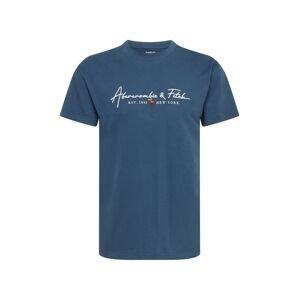 Abercrombie & Fitch Tričko  chladná modrá / bílá