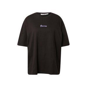 NA-KD Oversized tričko 'Karma'  černá / lenvandulová