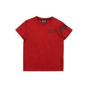 EA7 Emporio Armani Tričko  ohnivá červená / černá