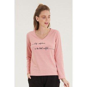 Blackspade Dámské růžové tričko s dlouhým rukávem růžová S