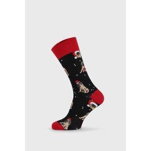 John Frank Vánoční ponožky Pug černá 40-45