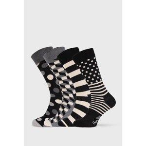 Happy Socks 4 PACK ponožek Happy Socks Black and White černobílá 36-40