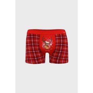 Cornette Červené vánoční boxerky Reindeer červená S