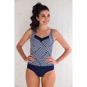 Lentiggini a Mila Swimwear Dámské jednodílné plavky Geometric Navy modrobílá 40