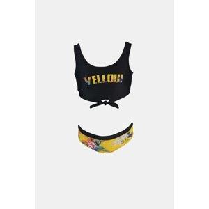 Lentiggini a Mila Swimwear Dívčí dvoudílné plavky Hawai černá 140