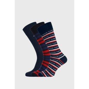 Tommy Hilfiger 3 PACK modročervených ponožek Tommy Hilfiger Gift modročervená 39-42