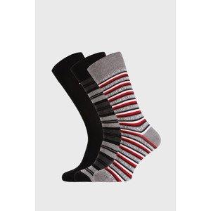 Tommy Hilfiger 3 PACK černošedých ponožek Tommy Hilfiger Gift černošedá 43-46