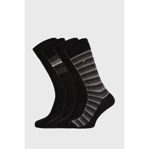 Tommy Hilfiger 4 PACK černých ponožek Tommy Hilfiger Tin černá 39-42