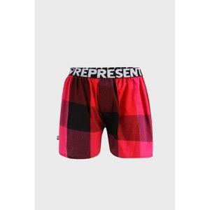 Represent Červené kostkované trenýrky Represent Classic Mike růžovočerná XXL
