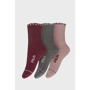 FILA 3 PACK dívčích ponožek FILA Bordeaux Pink barevná 23-26