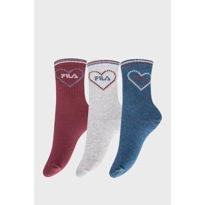 FILA 3 PACK dívčích ponožek FILA Fashion Girl barevná 35-38