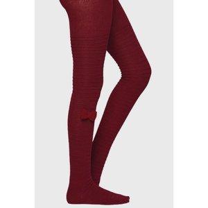 Ysabel Mora Dívčí punčochové kalhoty s mašličkou vínová 17-18