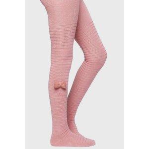 Ysabel Mora Dívčí punčochové kalhoty s mašličkou růžová 21-22