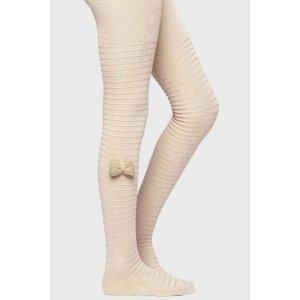 Ysabel Mora Dívčí punčochové kalhoty s mašličkou béžová 23-25