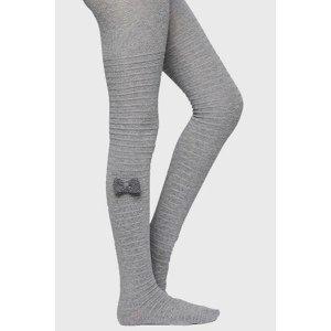 Ysabel Mora Dívčí punčochové kalhoty s mašličkou světlešedá 23-25