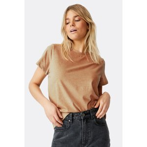 Cotton On Dámské tričko Crew s krátkým rukávem béžová XS
