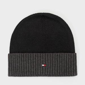 Tommy Hilfiger pánská černo šedá zimní čepice Pima - OS (0IO)
